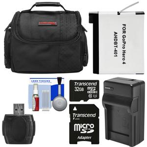 Essentials Bundle for GoPro HD HERO 4 Action Camcorder with 32GB Card + AHDBT-401 Battery + Charger + Case + Accessory Kit