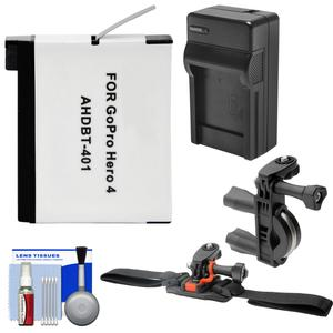 Essentials Bundle for GoPro HD HERO 4 Action Camcorder with AHDBT-401 Battery + Charger + ATV/Bike Handlebar & Vented Helmet Mounts + Kit