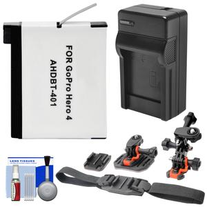 Essentials Bundle for GoPro HD HERO 4 Action Camcorder with AHDBT-401 Battery + Charger + 2 Helmet & Flat Surface Mounts + Accessory Kit