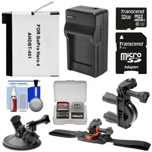 Essentials Bundle for GoPro HD HERO 4 Action Camcorder with 32GB Card + Battery + Charger + Handlebar Vented Helmet & Suction Cup Mounts + Kit
