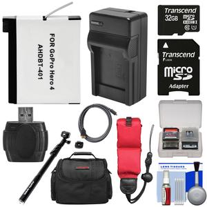 Essentials Bundle for GoPro HD HERO 4 Action Camcorder with 32GB Card + Battery + Charger + AquaPod + Floating Strap + Case + HDMI Cable + Kit