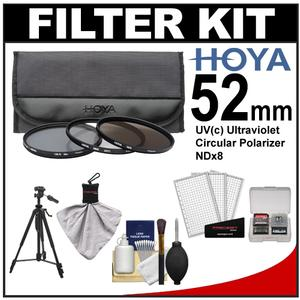 Hoya 52mm II (HMC UV / Circular Polarizer / ND8) 3 Digital Filter Set with Pouch with Deluxe Photo/Video Tripod + Accessory Kit