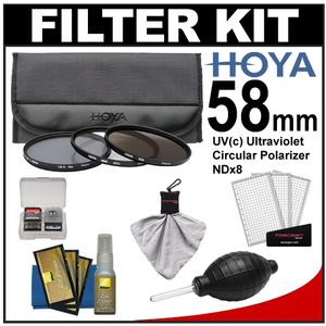 Hoya 58mm II (HMC UV / Circular Polarizer / ND8) 3 Digital Filter Set with Pouch with Nikon Cleaning + Accessory Kit