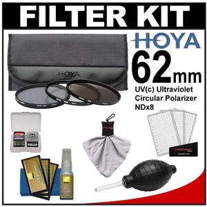 Hoya 62mm II (HMC UV / Circular Polarizer / ND8) 3 Digital Filter Set with Pouch with Nikon Cleaning + Accessory Kit