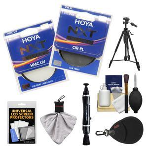 Hoya 77mm NXT (HMC UV + Circular Polarizer) Multi-Coated Glass Filters with Tripod + Filter Case + Accessory Kit