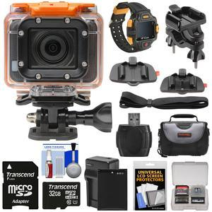 HP AC300w 1080p HD Wi-Fi Action Camera Camcorder and LCD Wrist Remote with Action Mounts + 32GB Card + Battery and Charger + Case + Kit