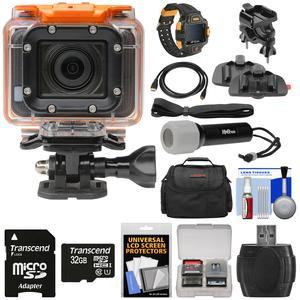 HP AC300w 1080p HD Wi-Fi Action Camera Camcorder and LCD Wrist Remote with Action Mounts + 32GB Card + Underwater LED Torch + HDMI Cable + Case + Kit