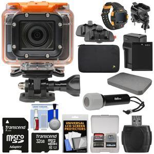 HP AC300w 1080p HD Wi-Fi Action Camera Camcorder and LCD Wrist Remote with Action Mounts + 32GB Card + Battery and Charger + LED Torch + Custom Case and Foam + Kit