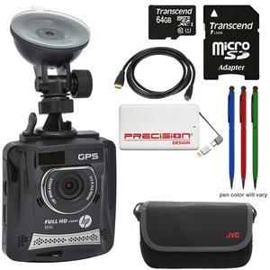 HP f310 1080p HD GPS G-Force Car Dashboard Video Recorder Camera with 64GB Card + Case + Power Pack + HDMI Cable + - 3 - Stylus Pens Kit