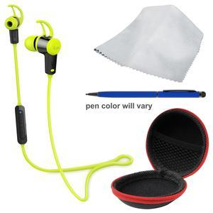 iLuv FitActive Jet Inner Ear Bluetooth Stereo Sport Headphones-Green-with Earbuds Case and Stylus Pen and Cleaning Cloth Kit