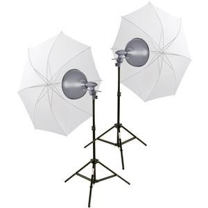 Interfit INT160 EZ Lite Portable Studio Lighting Kit with-2-500w Tungsten Lamp Heads-2-Stands and-2-Translucent Umbrellas