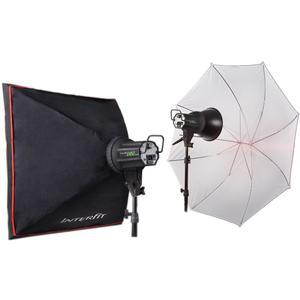 Interfit INT352 EX150 MK III Twin Head Umbrella Kit - 2 Heads 2 Light Stands 2 Softboxes also Includes 1 Translucent Umbrella and Instructional DVD