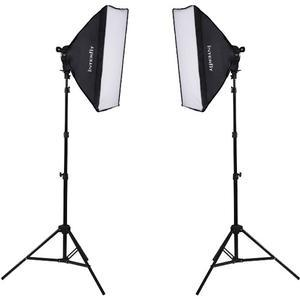 Interfit INT502 F5 Two-Head Fluorescent 2 Light Kit includes 2 F5 Fluorescent Lamp Heads 2 Soft Boxes 2 Light Stands and 10 INT042 Lamps