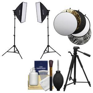 Interfit INT502 F5 Two-Head Fluorescent 2 Light Kit includes 2 Fluorescent Lamp Heads 2 Soft Boxes 2 Stands and Bulbs and Reflector and Tripod Kit