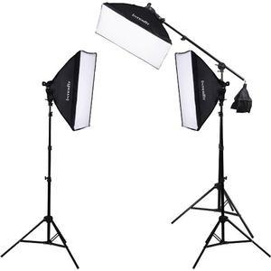 Interfit INT503 F5 Fluorescent Three-Head Light Kit with Boom Arm includes 3 F5 Fluorescent Lamp Heads 3 Soft Boxes 3 Light Stands Boom and 15 INT042 Lamps