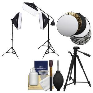 Interfit INT503 F5 Fluorescent Three-Head Light Kit with Boom Arm with 3 Fluorescent Lamp Heads Soft Boxes Stands Boom and Bulb and Reflector Disk and Tripod