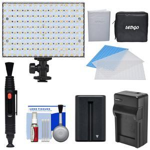 LEDGO 160 LED Bi-Color On-Camera Video Light with 2 Diffusers and Blue Filter and Case and Battery and Charger and Kit