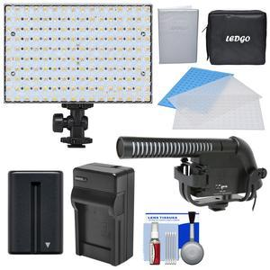 LEDGO 160 LED Bi-Color On-Camera Video Light with 2 Diffusers and Blue Filter and Case and Microphone and Battery and Charger and Kit