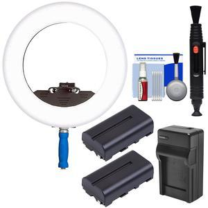 LEDGO LG-R320C Bi-Color Shoot-Through Flood LED Ring Light with 2 Batteries and Charger + Cleaning Kit