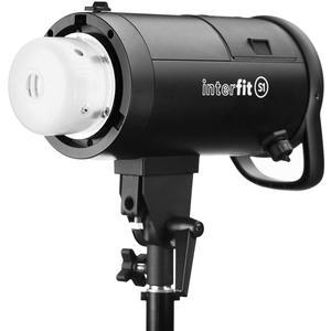 Interfit S1 500ws HSS TTL IGBT Studio Flash Strobe Monolight with Reflector Frosted Dome AC Adapter Pack Rechargeable Battery and Charger