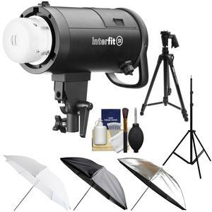 Interfit S1 500ws HSS TTL IGBT Studio Flash Strobe Monolight with Tripod + Light Stand + 3 Umbrellas + Kit
