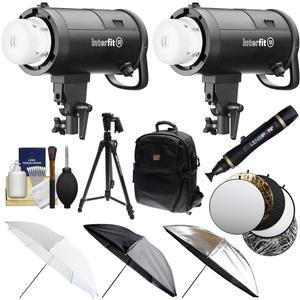 Interfit S1 500ws HSS TTL IGBT Studio Flash Strobe Monolight with additional S1 Monolight + Tripod + 3 Umbrellas + 5 Reflector Disks + Backpack + Kit