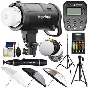 Interfit S1 500ws HSS TTL IGBT Studio Flash Strobe Monolight with TTL Remote and Tripod and Light Stand and 3 Umbrellas and 5 Reflector Disks and Kit for Canon