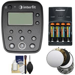 Interfit INTR1C TTL - E-TTL ll Studio Flash Remote for Canon for S1 and S1a Monolight with Batteries and Charger + 5 Collapsible Reflector Disks + Kit