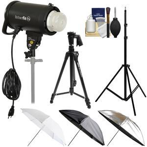 Interfit S1a 500ws HSS TTL IGBT Studio Flash Strobe Monolight with Tripod and Light Stand and 3 Umbrellas and Kit