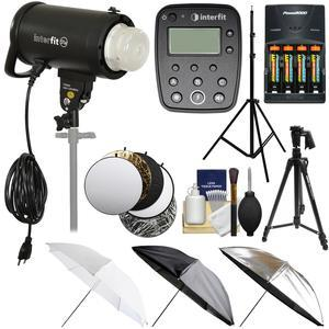 Interfit S1a 500ws HSS TTL IGBT Studio Flash Strobe Monolight with TTL Remote and Tripod and Light Stand and 3 Umbrellas and 5 Reflector Disks and Kit for Canon