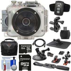 Intova Connex 1080p HD 60m-200ft Waterproof Video Action Camera Camcorder with Remote + Action Mounts + 32GB Card + Case + HDMI Cable + Reader + Kit
