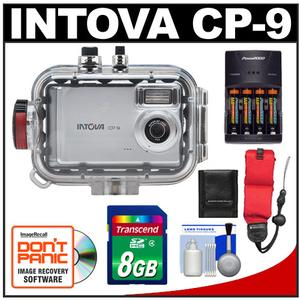 Intova CP-9 Compact Digital Camera with 130' Waterproof Housing with 8GB Card + Batteries & Charger + Floating Strap + Cleaning Kit