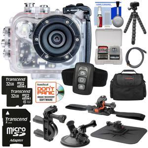 Intova HD2 Marine Grade HD Video Action Camera Camcorder with Video Light with - 2x - 32GB Cards + Remote + Handlebar- Helmet- Suction Cup Mounts + Case + Tripod Kit
