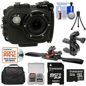 Intova X2 Marine Grade Wi-Fi HD Video Action Camera Camcorder with Video Light plus 32GB Card + Bike Handle Bar and Vented Helmet Mounts + Case + Kit