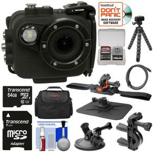 Intova X2 Marine Grade Wi-Fi HD Video Action Camera Camcorder with Video Light plus 64GB Card + Handlebar Helmet and Suction Cup Mounts + Case + Tripod + Kit