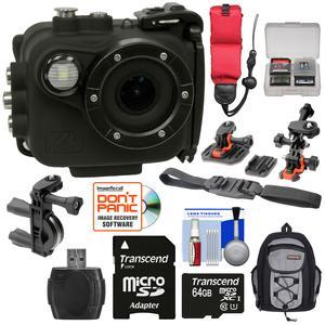 Intova X2 Marine Grade Wi-Fi HD Video Action Camera Camcorder with Video Light plus 64GB Card + Action Mounts + Backpack Case + Floating Strap + Kit