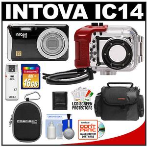 Intova IC14 Sports Digital Camera with 180' Waterproof Housing (Black) with 16GB SD Card + (2) Cases + Accessory Kit