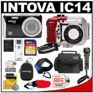 Intova IC14 Sports Digital Camera + 180' Waterproof Housing  + 16GB SD Card + Compact Torch + Handstrap + (2) Cases + Accessory Kit at Sears.com