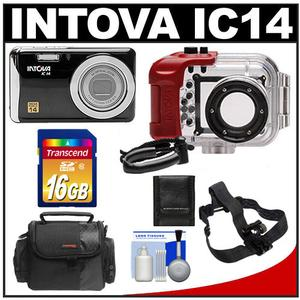 Intova IC14 Sports Digital Camera with 180' Waterproof Housing (Black) with 16GB Card + Helmet Mount + Case + Accessory Kit