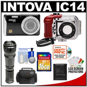 Intova IC14 Sports Digital Camera with 180' Waterproof Housing (Black) with 16GB Card + LED Torch + Case + Accessory Kit