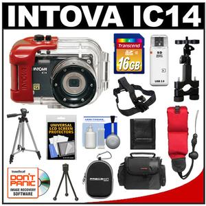 Intova IC14 Sports Digital Camera with 180' Waterproof Housing (Black) with Headstrap & Handlebar Mount + 16GB Card + 2 Cases + 2 Tripods + Floating Strap + Kit