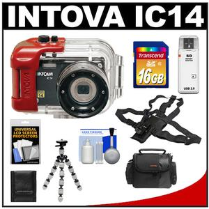 Intova IC14 Sports Digital Camera with 180' Waterproof Housing (Black) with Chest Mount + 16GB Card + Case + Tripod + Accessory Kit
