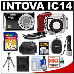 Intova IC14 Sports Digital Camera with 180' Waterproof Housing (Black) with 32GB Card + Video Light Torch + (2) Cases + Tripod + Accessory Kit