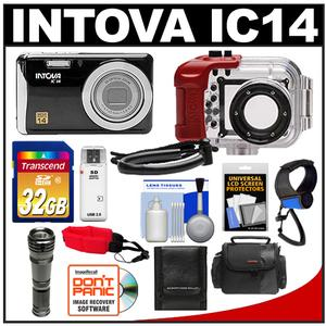 Intova IC14 Sports Digital Camera with 180' Waterproof Housing (Black) with 32GB Card + Video Light Torch + Handstrap + Case + Accessory Kit