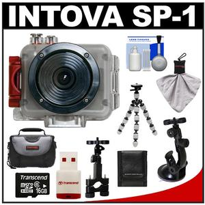 Intova Sport Pro Waterproof HD Sports Video Camera Camcorder with Suction Cup & Sports Bar Mounts + 16GB Card + Case + Flex Tripod + Accessory Kit