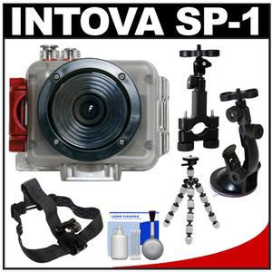 Intova Sport Pro Waterproof HD Sports Video Camera Camcorder with Helmet + Sports Bar & Suction Cup Mounts + Flex Tripod + Cleaning Kit