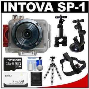 Intova Sport Pro Waterproof HD Sports Video Camera Camcorder with Helmet + Sports Bar & Suction Cup Mounts + 32GB Card + Flex Tripod + Accessory Kit