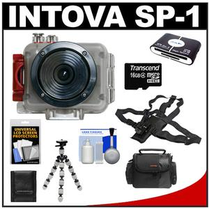 Intova Sport Pro Waterproof HD Sports Video Camera Camcorder with Chest Mount + 16GB Card + Case + Tripod + Accessory Kit