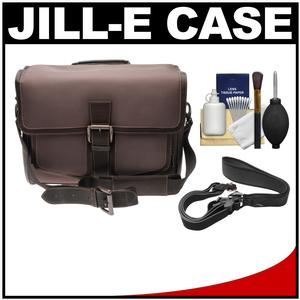 Jill-e Jack Small Messenger Camera Bag - Brown - with Camera Strap + Accessory Kit