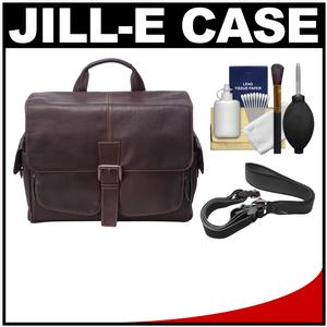 Jill-e Jack Messenger Leather Camera Bag (Brown) with Camera Strap + Accessory Kit